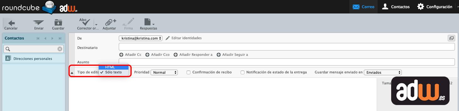 editar como html roundcube