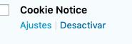 ajustes plugin cookie notice