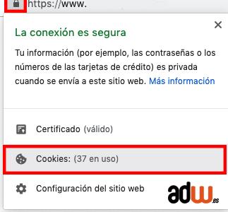 ver que cookies tiene una web