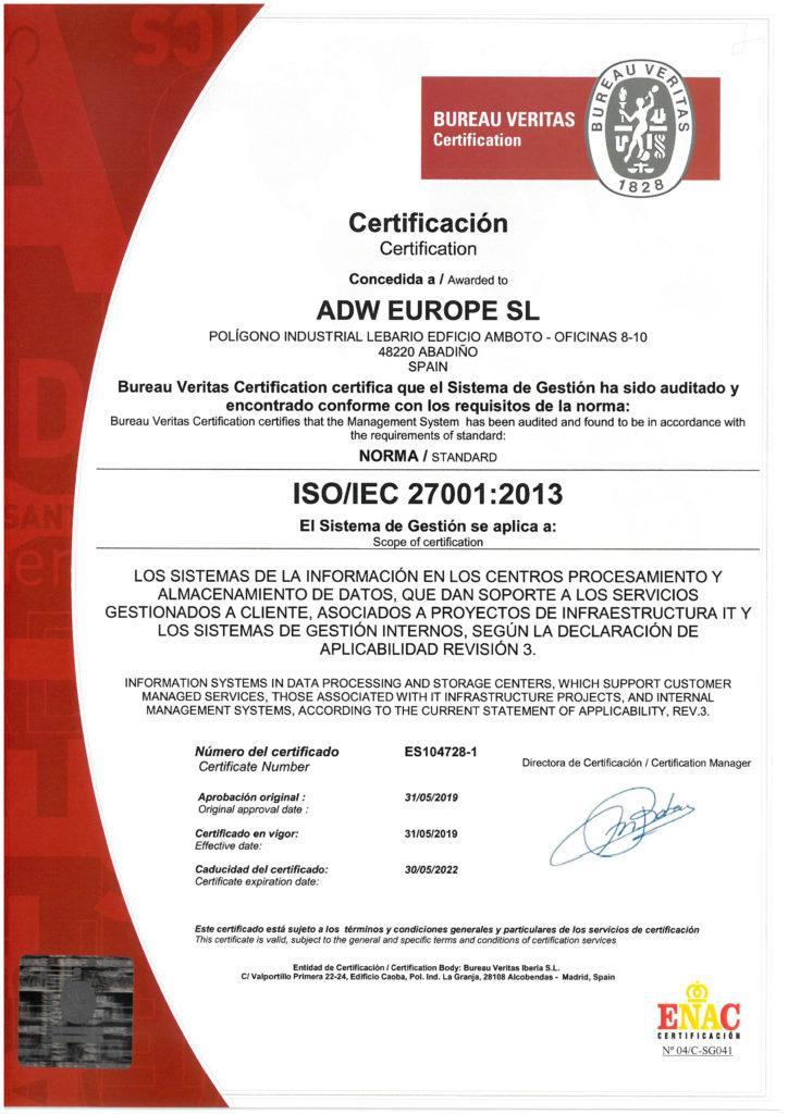 certificacion iso 27001 adw