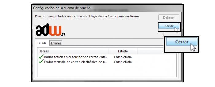 configuracion de la cuenta de prueba Outlook 2013