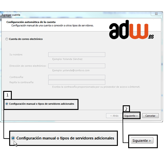 elija configuracion manual en outlook 2013