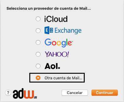 otra cuenta de mail macOS sierra