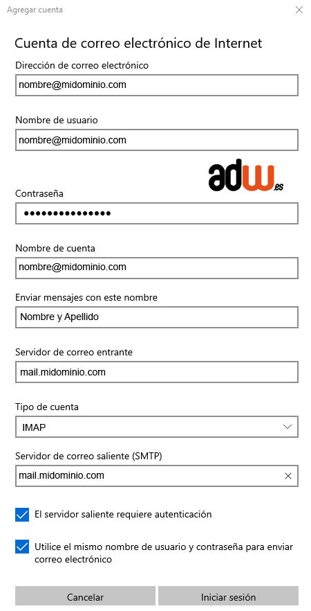 rellenar datos de mail