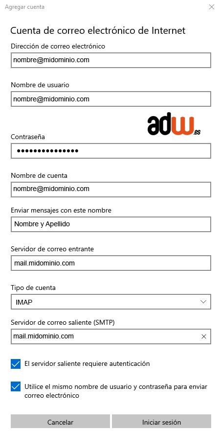 rellenar datos de mail